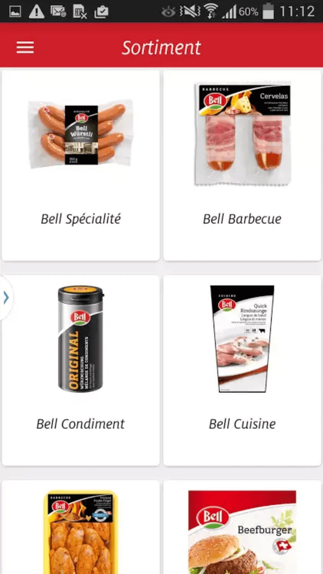 Bell App - Produkte