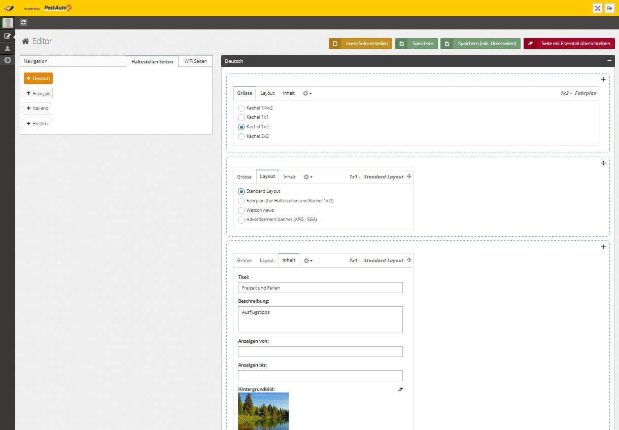 Über das Backend können die einzelnen Kacheln konfiguriert und mit Inhalten versehen werden.