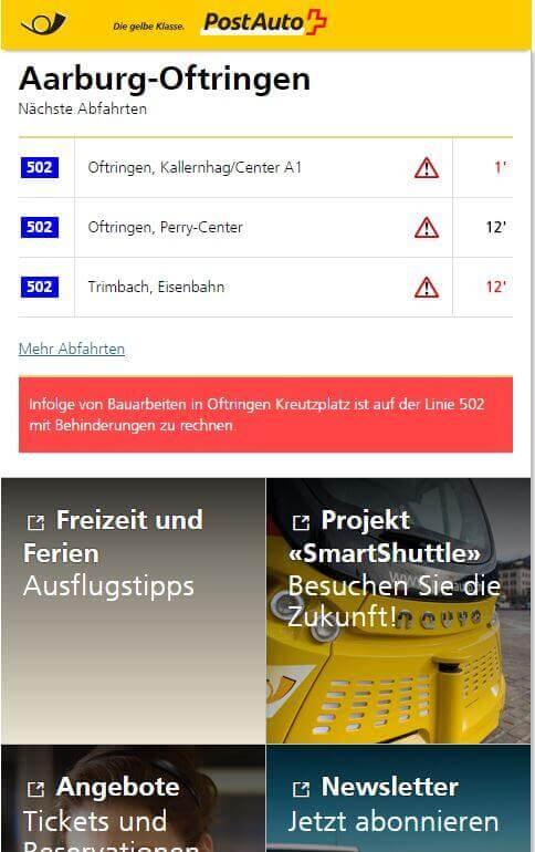 Haltestellen-Landingpage der Haltestelle Aarburg-Oftringen mit Abfahrtsfahrplan