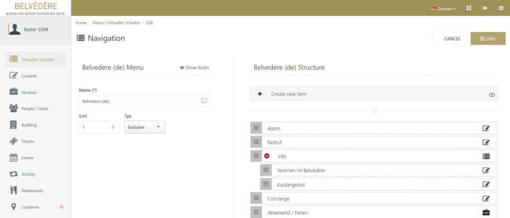 Screenshot CMS Belvédère