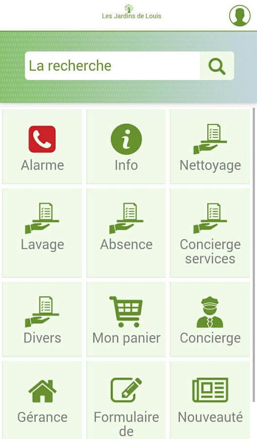 Screenshot App Les Jardins de Louis