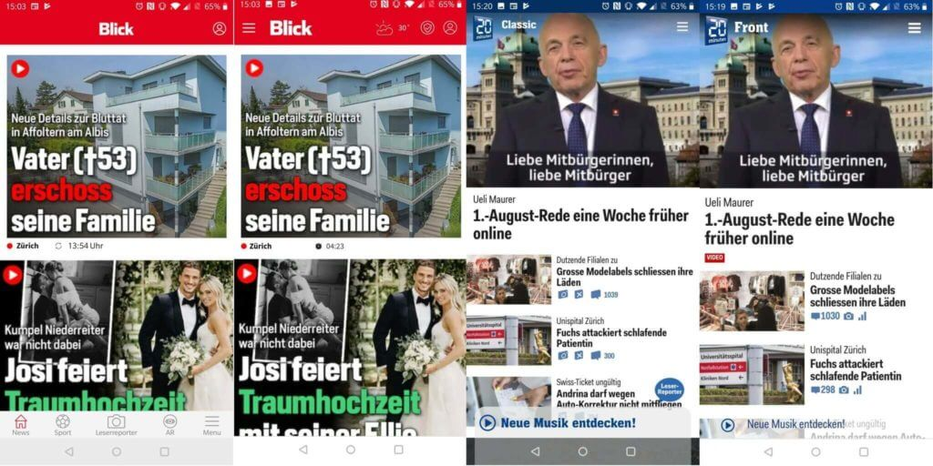 Vergleich der Hybrid- und Web-Apps von Blick und 20 Minuten